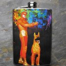 Stainless Steel Flask - 8oz., Mexican Wresting Holding Dog on Rainbow Print Background