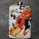 Stainless Steel Flask - 8oz., Two Mexican Wrestlers on White Print Background