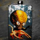 Stainless Steel Flask - 8oz., Space Alien and Women, Blue Background
