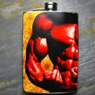 Stainless Steel Flask - 8oz., Muscle Man's Abs on Flower Print Background