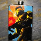 Stainless Steel Flask - 8oz., Yellow Trooper on Blue and Flower Print Background