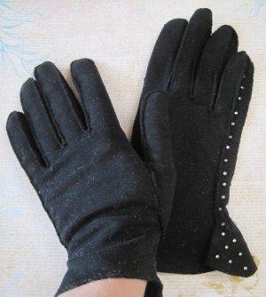 Vintage Ladies Black Leather Gloves with Rhinestone Embellishments