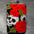 Stainless Steel Flask - 8oz., Skulls with Rose Print Background on Black
