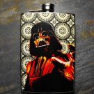 Stainless Steel Flask - 8oz., Darth Vader on Circle Print Background on Black