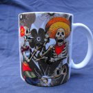 Hand Decorated Ceramic Sublimated Mug 12oz, Day of the Dead Couple Flower Print Background