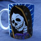Hand Decorated Ceramic Sublimated Mug 12oz, Day of the Dead Virgin of Guadalupe Blue Background