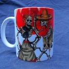 Hand Decorated Ceramic Sublimated Mug 12oz, Day of the Dead Couple on Rose Print Background