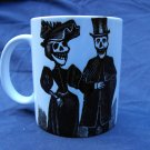 Hand Decorated Ceramic Sublimated Mug 12oz, Day of the Dead Couple in Black and White