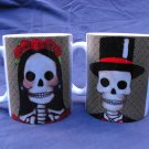 Set of Two Hand Decorated Ceramic Sublimated Mug 12oz, Day of the Dead Bride and Groom