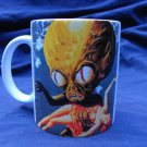 Hand Decorated Ceramic Sublimated Mug 12oz, Alien Carrying Woman Blue Background