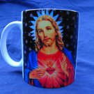 Hand Decorated Ceramic Sublimated Mug 12oz, Jesus Print on Black Background