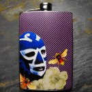 Stainless Steel Flask - 8oz., Mexican Wrestler with Bee, Purple Background