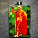 Stainless Steel Flask - 8oz., Mexican Wrestler in Suit on Green Square Background