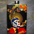 Stainless Steel Flask - 8oz., Mexican Wrestler with Bee and Colorful Background