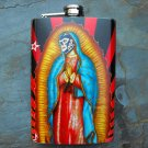 Stainless Steel Flask - 8oz., Mexican Wrestler Mask on Virgin Mary Body