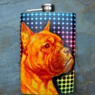 Stainless Steel Flask - 8oz., Pit Bull Face on Colorful Lined Background