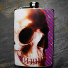 Stainless Steel Flask - 8oz., Skull Face on Purple Print Background