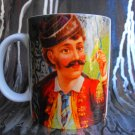 Hand Decorated Ceramic Sublimated Mug 12oz, Retro Man on Colorful Background