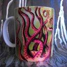 Hand Decorated Ceramic Sublimated Mug 12oz, Octopus Legs  on Green Background