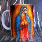Hand Decorated Ceramic Sublimated Mug 12oz, Virgin Mary with Mexican Wrestler Face Black Background
