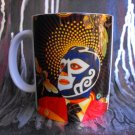 Hand Decorated Ceramic Sublimated Mug 12oz, Mexican Wrestler on Yellow Print Background