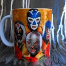 Hand Decorated Ceramic Sublimated Mug 12oz, Four Mexican Wrestlers on Yellow and Orange Background