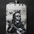Stainless Steel Flask - 8oz., Day of the Dead Musician on Music Note Background