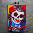 Stainless Steel Flask - 8oz., Day of the Dead Women Colorful Print