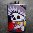 Stainless Steel Flask - 8oz., Day of the Dead Male Colorful Print