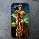 C3PO on Blue and Green Background Decorated iPhone 4,5,6 or 6plus Case