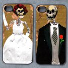 Day of the Dead Bride and Groom on Gold Background Decorated iPhone 4,5,6 or 6plus Case