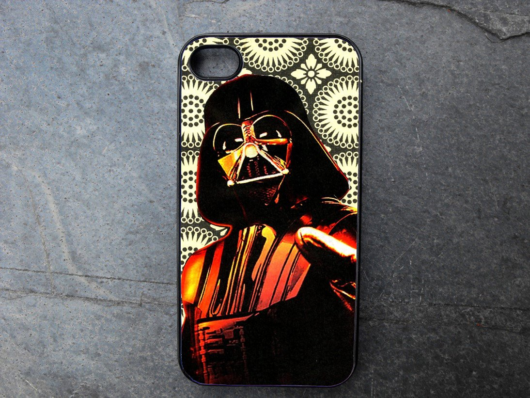 Darth Vader on Circle Print Background Decorated iPhone 4,5,6 or 6plus Case