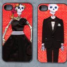 Day of the Dead Prom Couple on Red Print Background Decorated iPhone 4,5,6 or 6plus Case