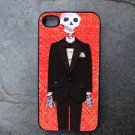 Day of the Dead Groom on Red Background Background Decorated iPhone 4,5,6 or 6plus Case