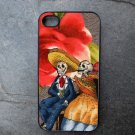 Day of the Dead Couple on Flower Print Background Decorated iPhone 4,5,6 or 6plus Case