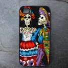 Day of the Dead Couple on Black Background iPhone 4,5,6 or 6plus Case