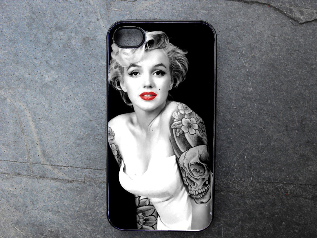Marilyn monroe with tattoos decorated iphone 4 5 6 or for Tattoo shops hiring front desk