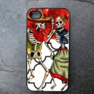 Day of the Dead Couple on Red Flower Background Decorated iPhone 4,5,6 or 6plus Case