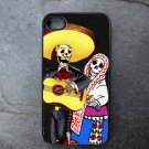 Day of the Dead Couple on Black Background Decorated iPhone 4,5,6 or 6plus Case