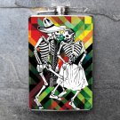 Stainless Steel Flask - 8oz., Day of the Dead Couple on Colorful Print Background