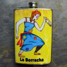 Stainless Steel Flask - 8oz.,The Lady Loteria Card on Yellow Background