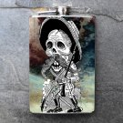 Stainless Steel Flask - 8oz., Day of the Dead Male Colorful Print Background
