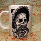 Hand Decorated Ceramic Sublimated Mug 12oz, Black and White Day of the Dead Fighter