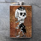 Stainless Steel Flask - 8oz., Day of the Dead Man on Printed Background