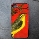 Yellow Bird on Red Background Decorated iPhone 4,5,6 or 6plus Case
