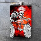 Stainless Steel Flask - 8oz., Day of the Dead Skeleton on Bike with Red Background