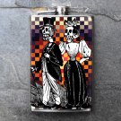 Stainless Steel Flask - 8oz., Day of the Dead Male Couple on Checkered Print Background