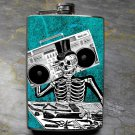 Stainless Steel Flask - 8oz., Day of the Dead Man with Boom Box on Teal Background