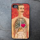 Man with Lungs Showing Red Print Background Decorated iPhone 4,5,6 or 6plus Case