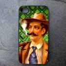 Retro Man Smoking on Green Print Background Decorated iPhone 4,5,6 or 6plus Case